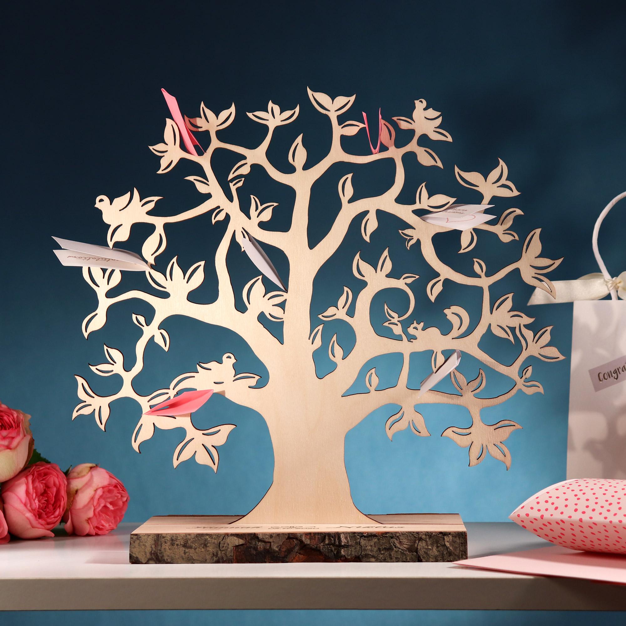Geldbaum mit Gravur zur Hochzeit - Herzen - Personalisiert - Klein