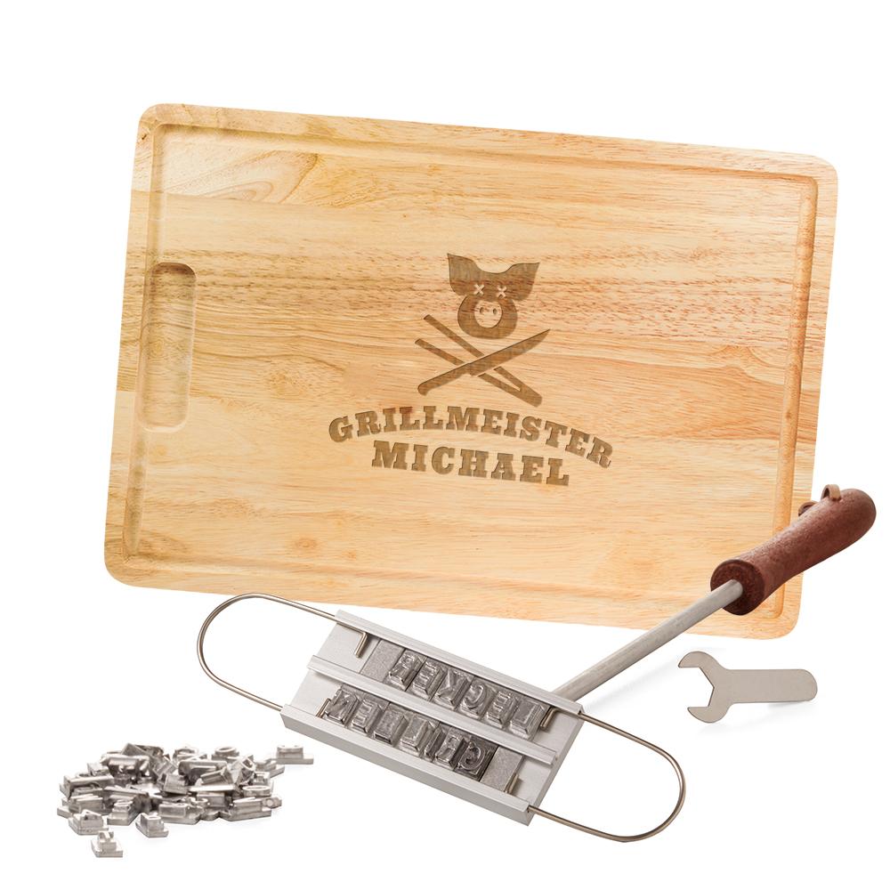 Grillset Grillbrandeisen und Schneidebrett - Grillmeister Gravur
