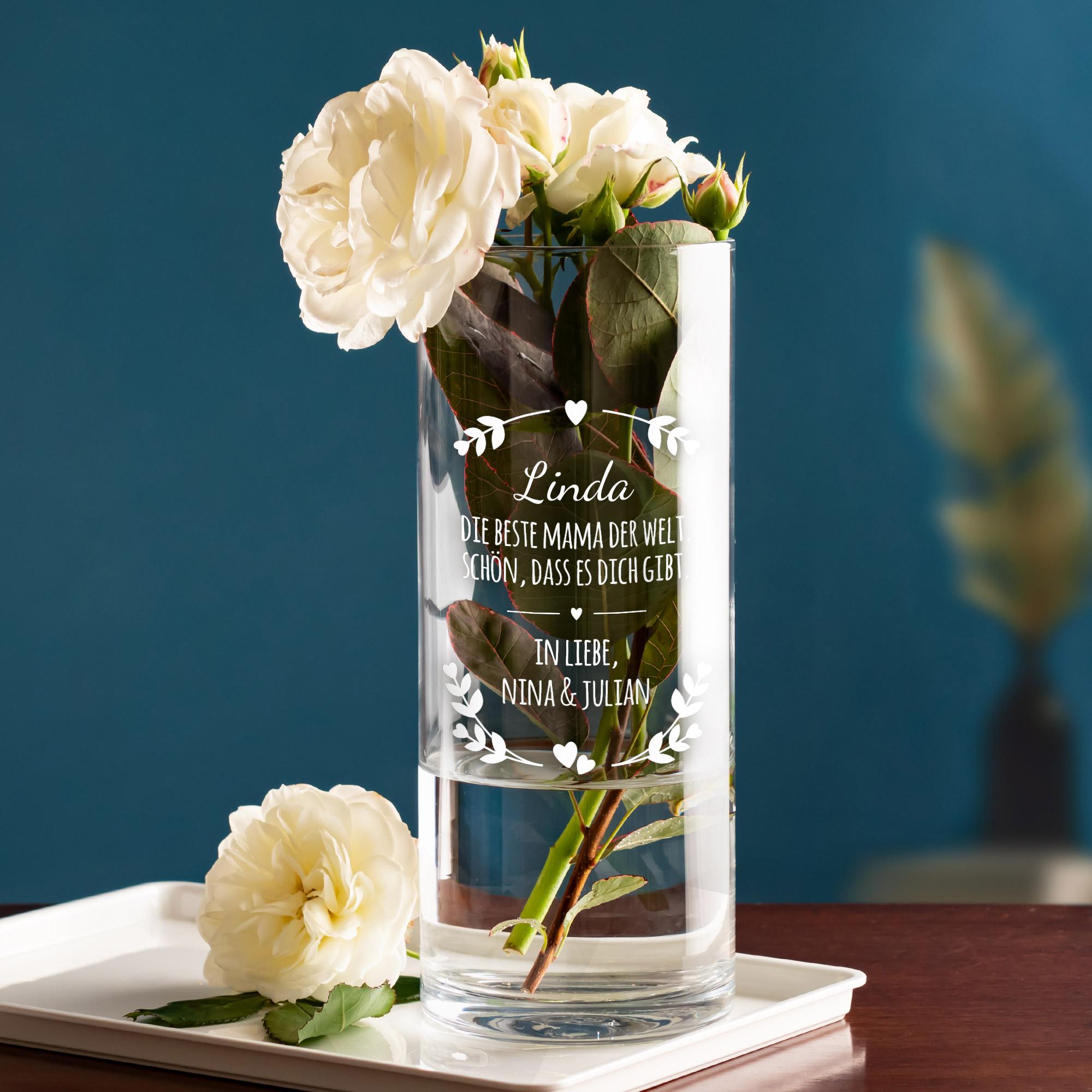 Runde Vase mit Gravur für die Beste Mama