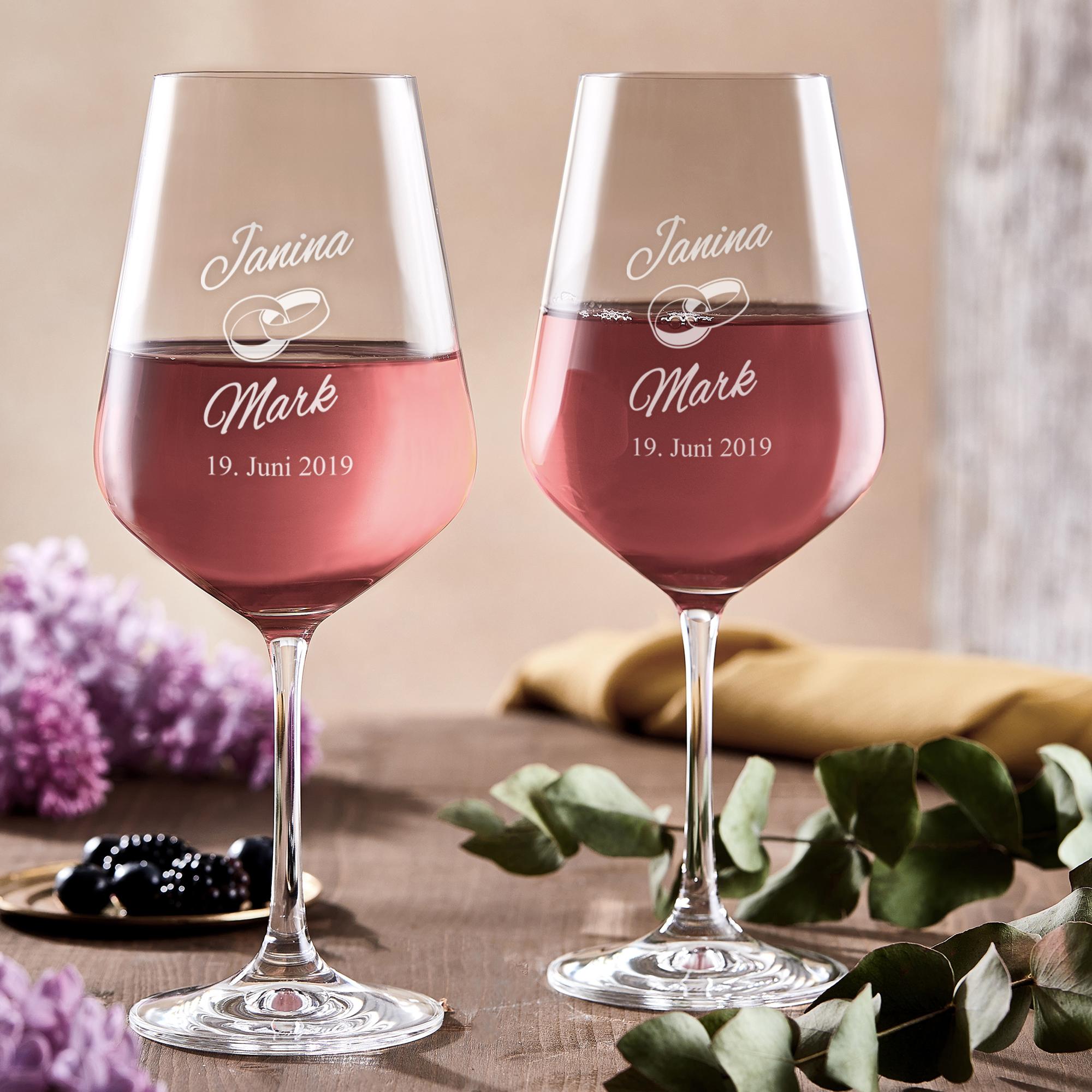 Weingläser zur Hochzeit