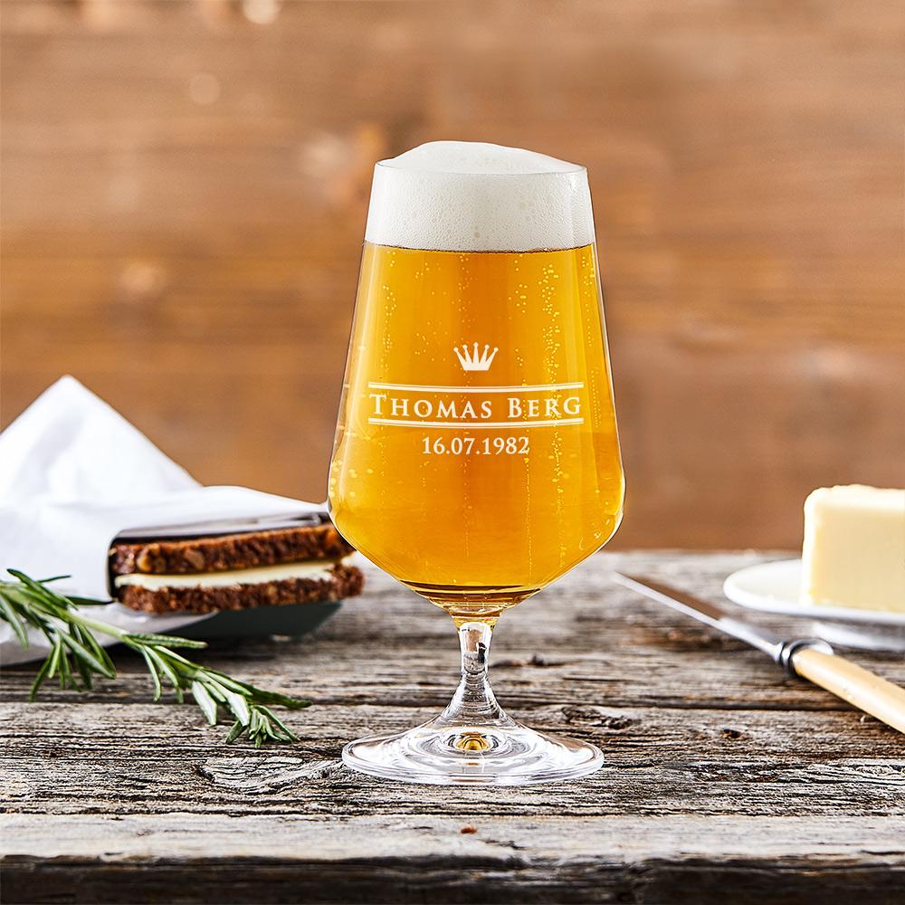 Bierglas mit Gravur Kleine Krone - Pilstulpe - Personalisiert