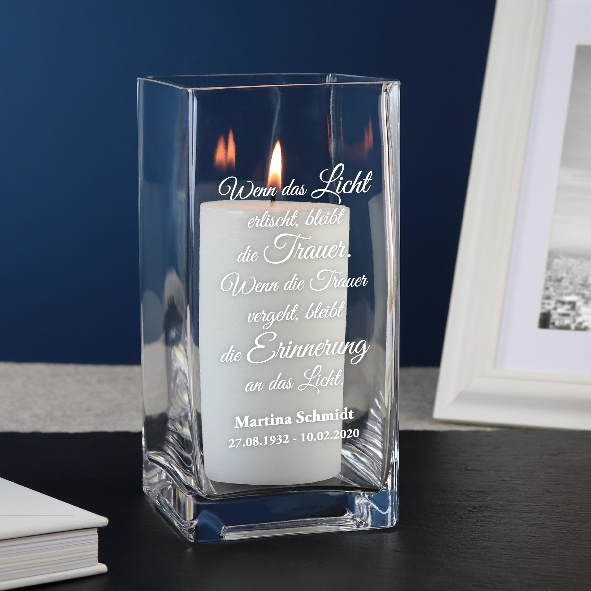 Vase mit Gravur - Trauer - Personalisiert