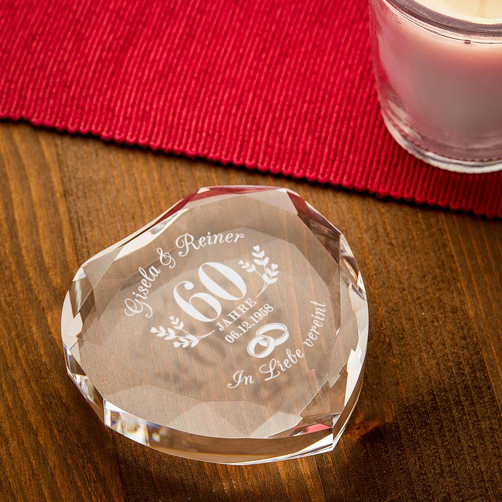 Herzkristall mit Gravur zur Diamantenen Hochzeit - Personalisiert