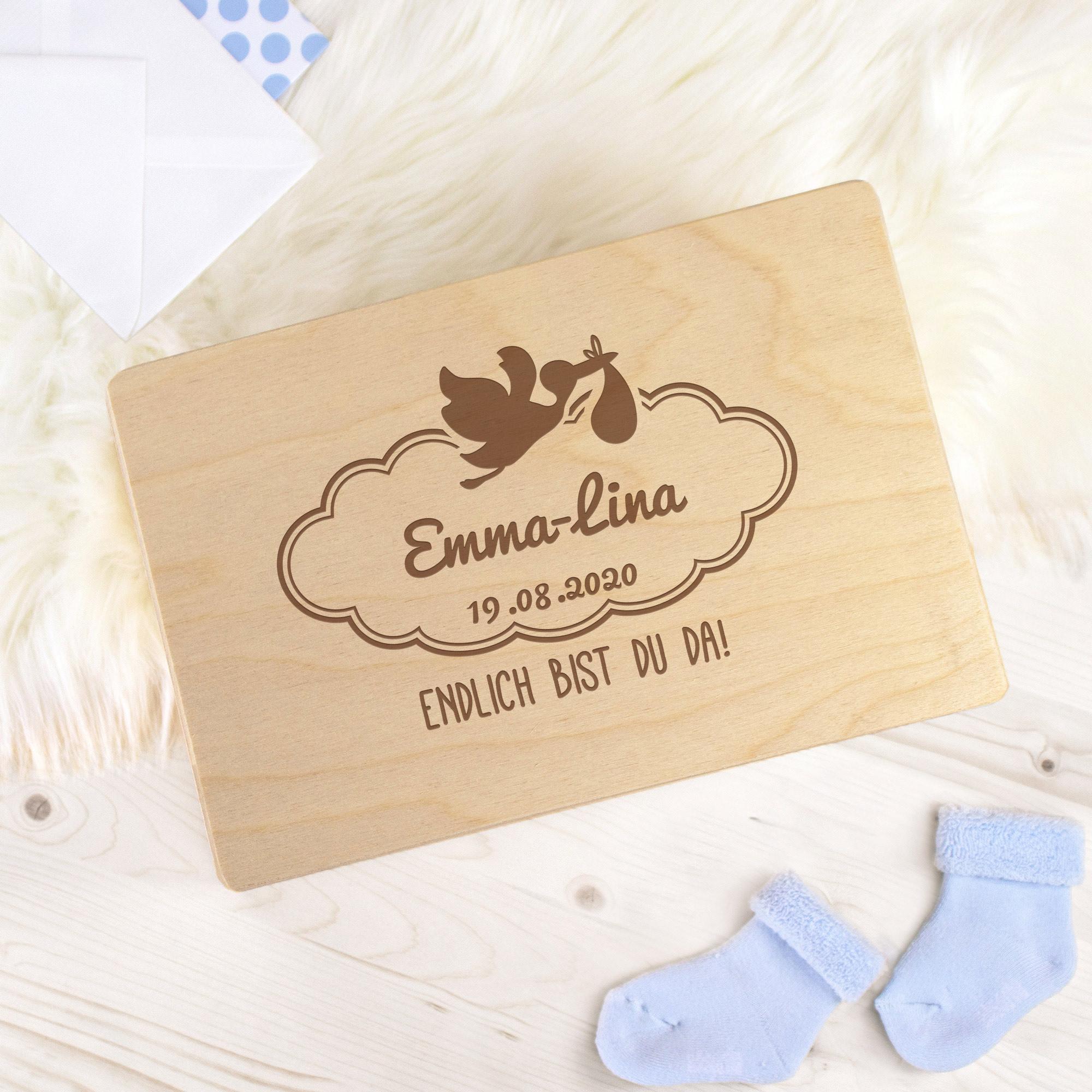 Keepsake Box - Geburt Storch - Personalisiert