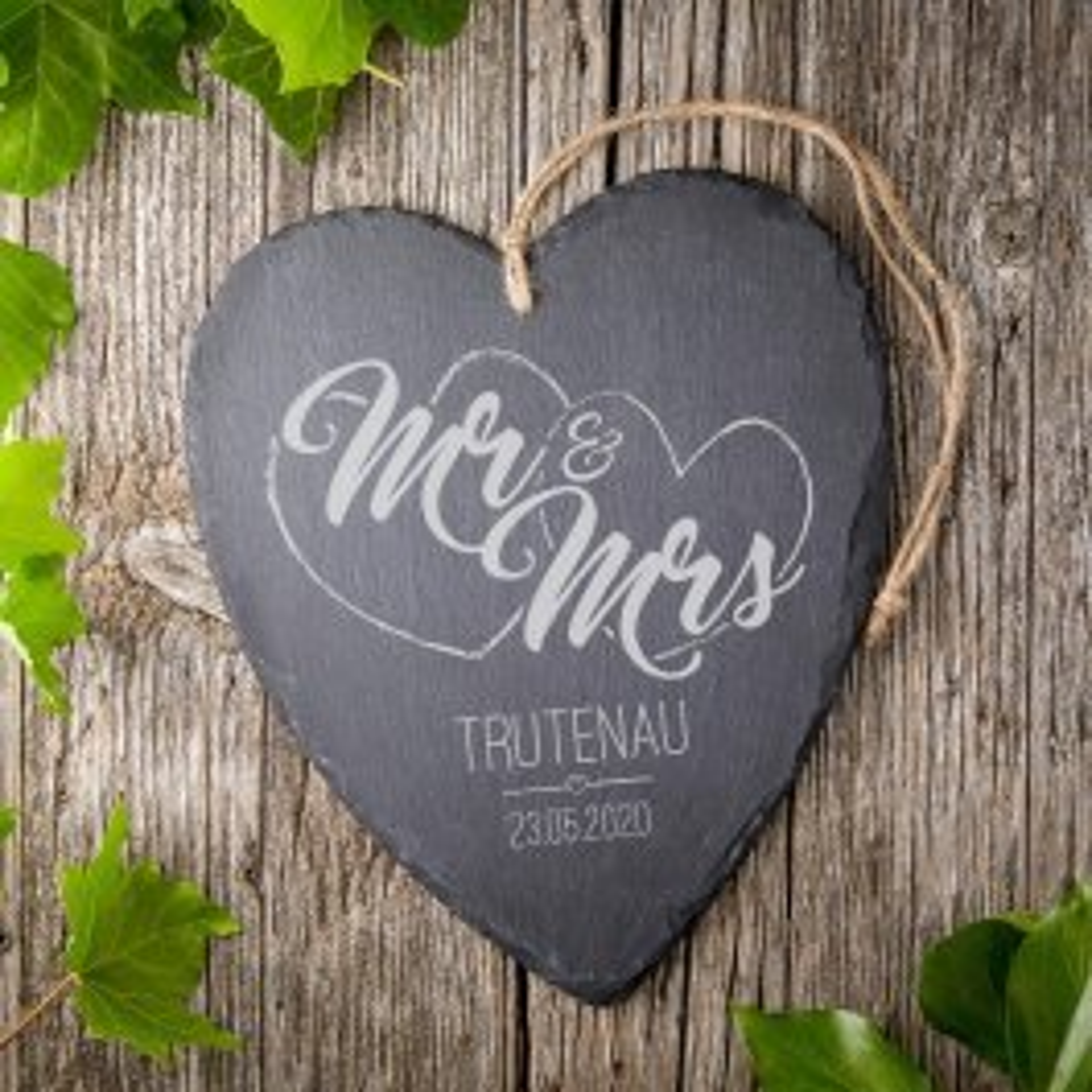 Schieferherz mit Gravur zur Hochzeit - Mr und Mrs - Personalisiert