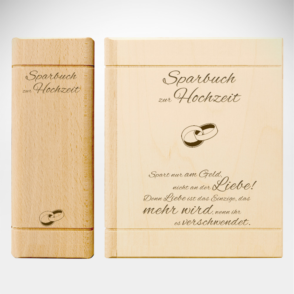 Spardose Buch aus Holz zur Hochzeit mit Spruch