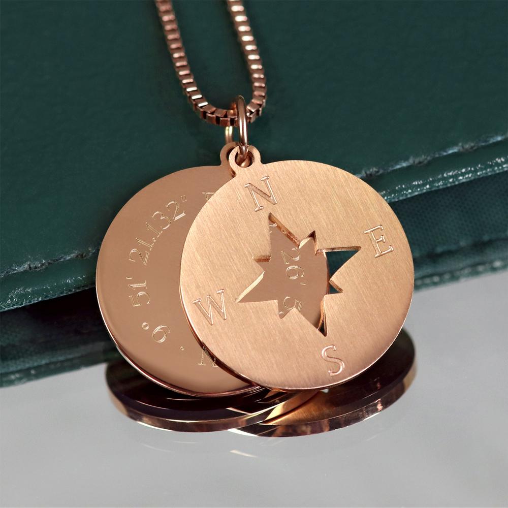 Halskette mit Gravur - Kompass und Geokoordinaten - Roségold - Personalisiert