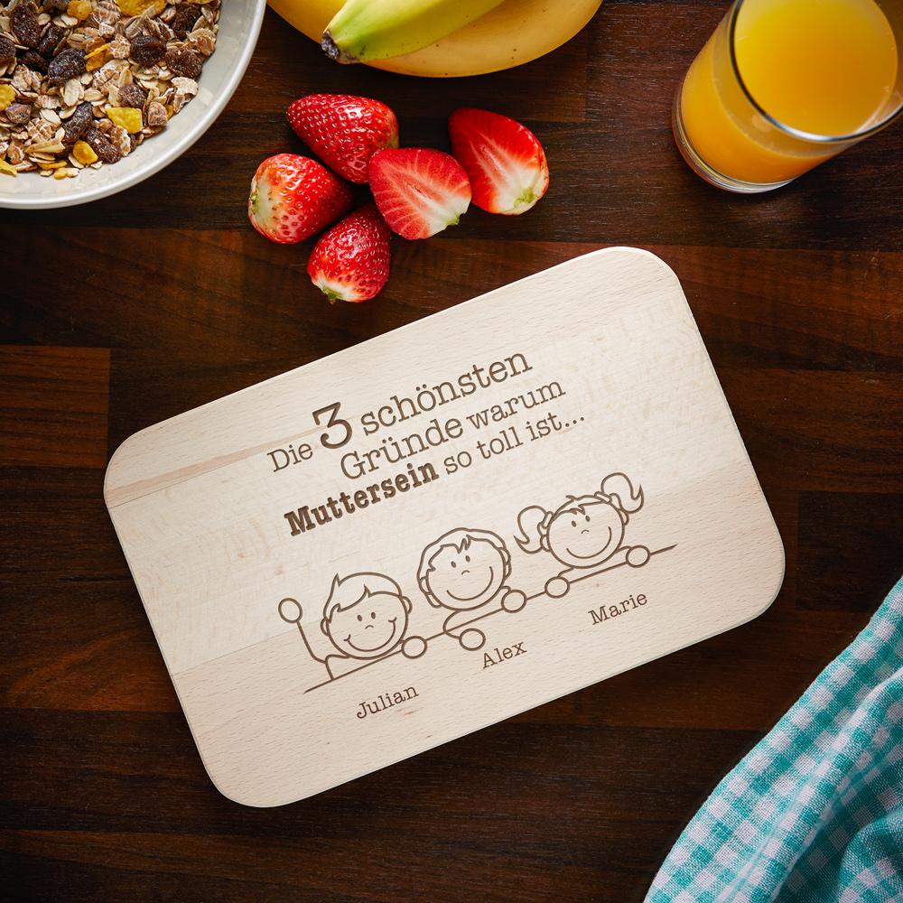 Frühstücksbrett mit Gravur - Warum ich es liebe Mutter zu sein