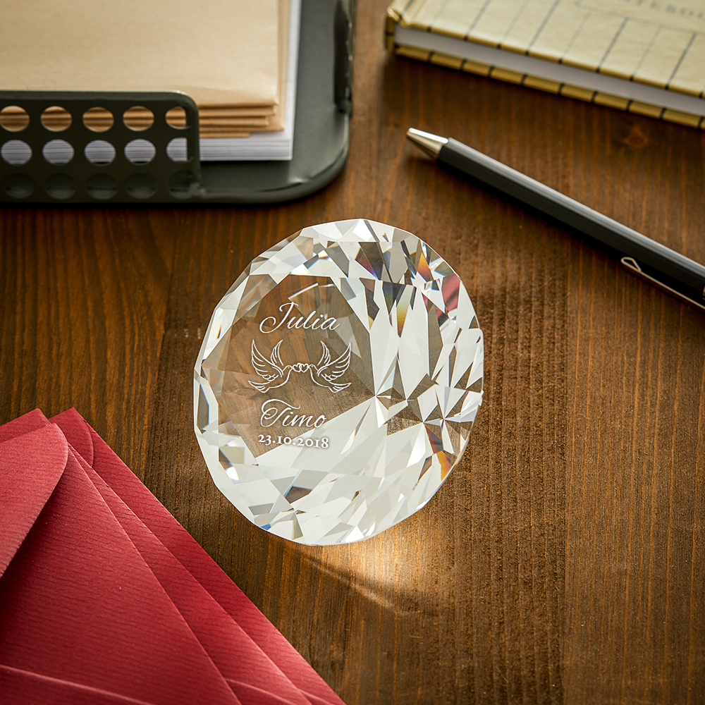 Diamant Kristall mit Gravur zur Hochzeit - Personalisiert