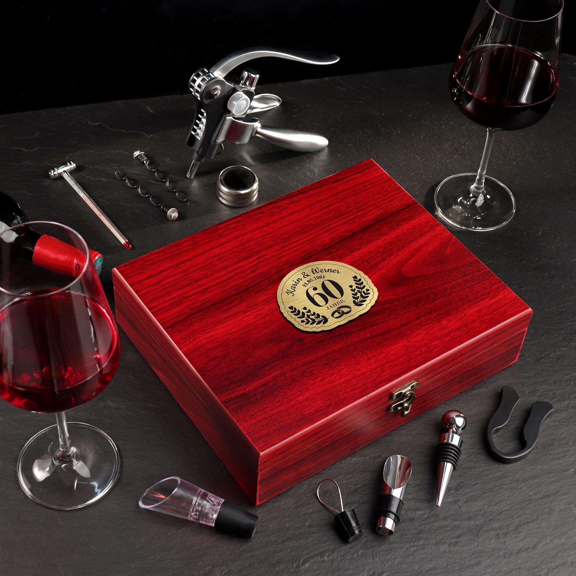 Wein Sommelier Set mit Gravur zur Diamantenen Hochzeit