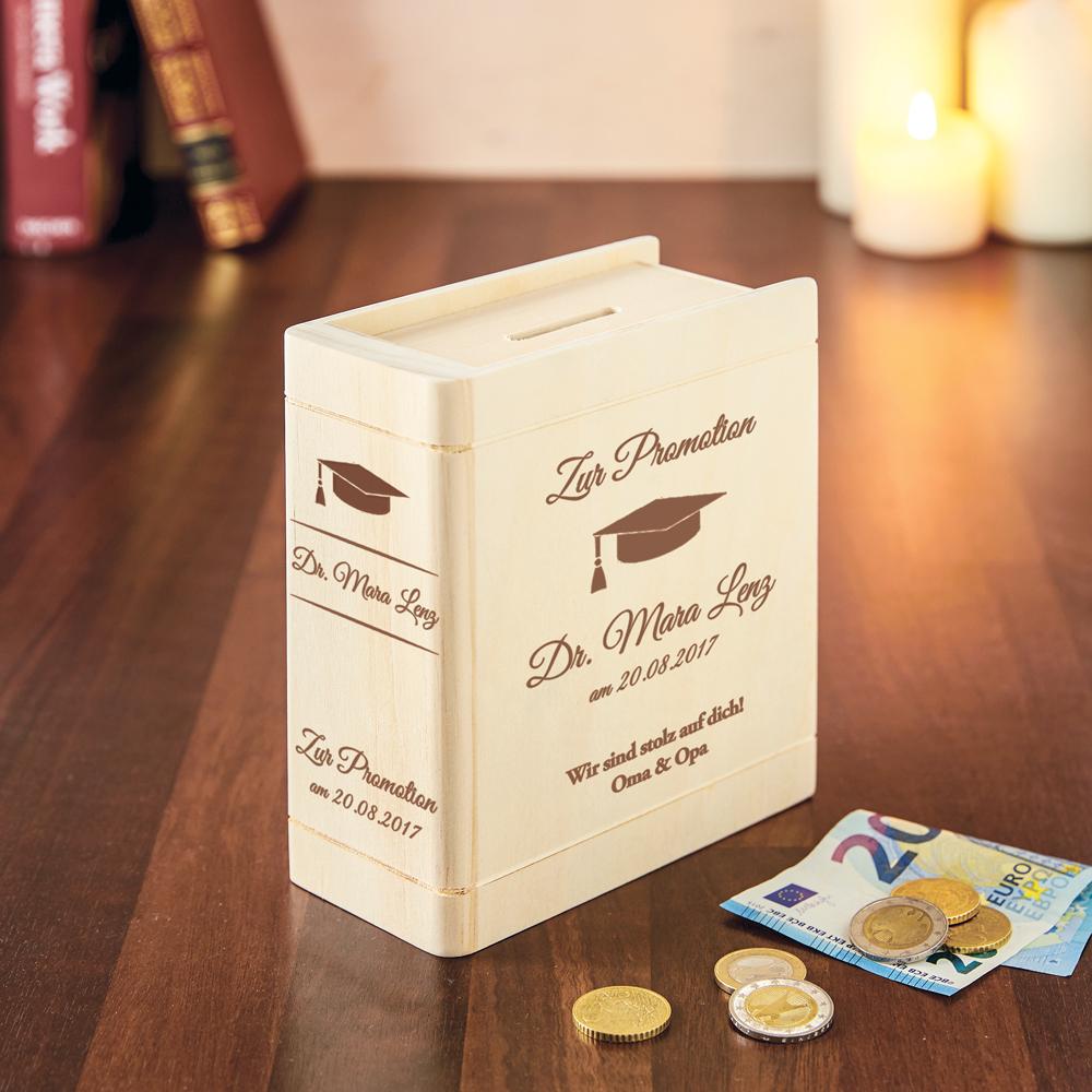Spardose Buch aus Holz mit Gravur zur Promotion - Personalisiert
