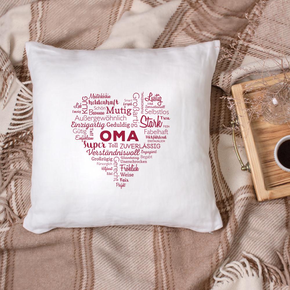 Bedrucktes Kissen - Wortwolke für Oma