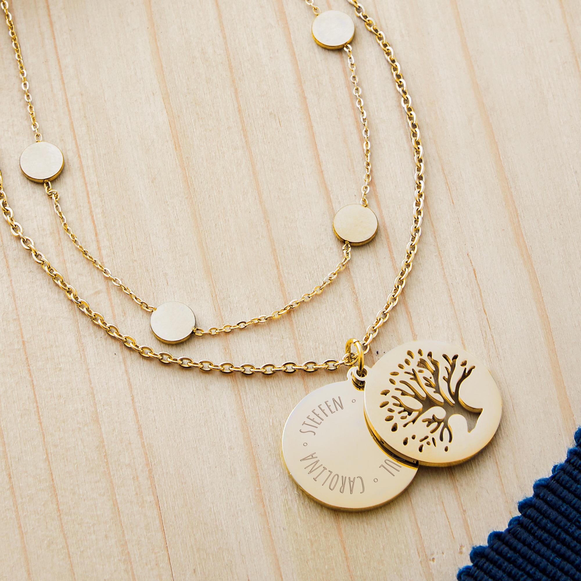 Set Layering Kette und Halskette Baum - Gold - Personalisiert