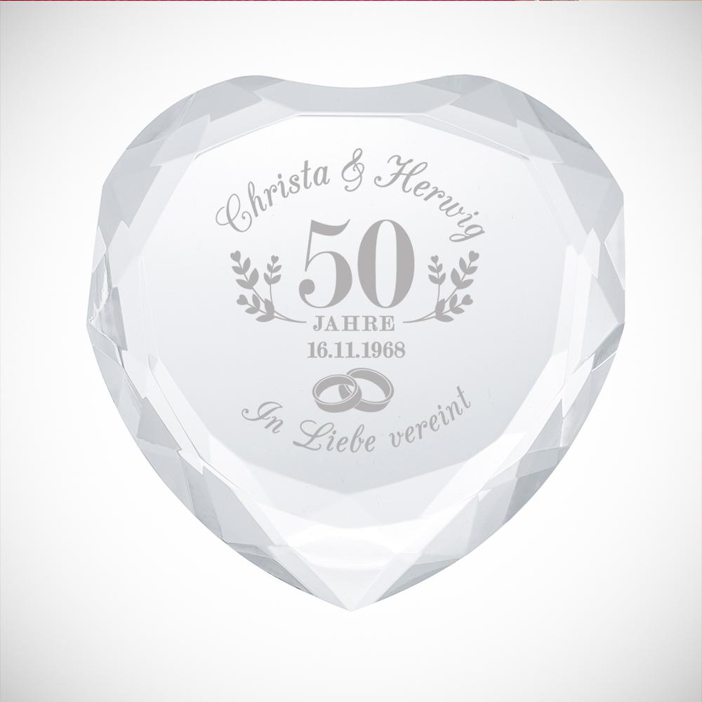 Herzkristall mit Gravur zur Goldenen Hochzeit - Personalisiert