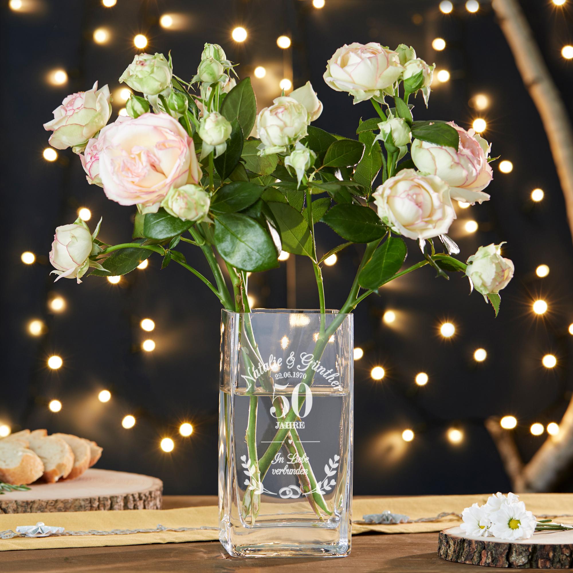 Vase mit Gravur Goldene Hochzeit - Personalisiert