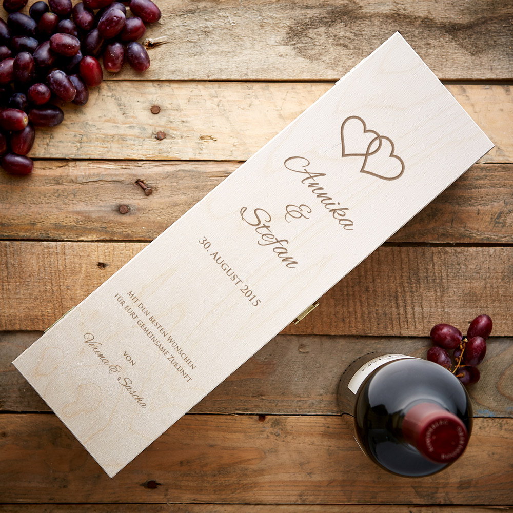 Weinkiste mit Hochzeitsgravur - Personalisiert