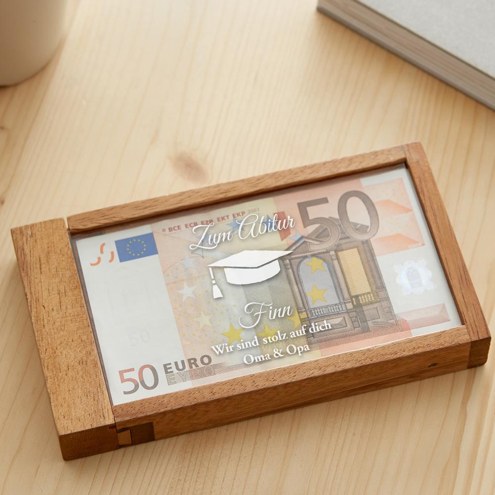 Magische Geldgeschenkbox mit Gravur zum Abitur