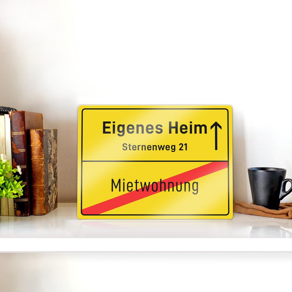 Personalisiertes Ortsschild zur Hochzeit - Eigenes Heim