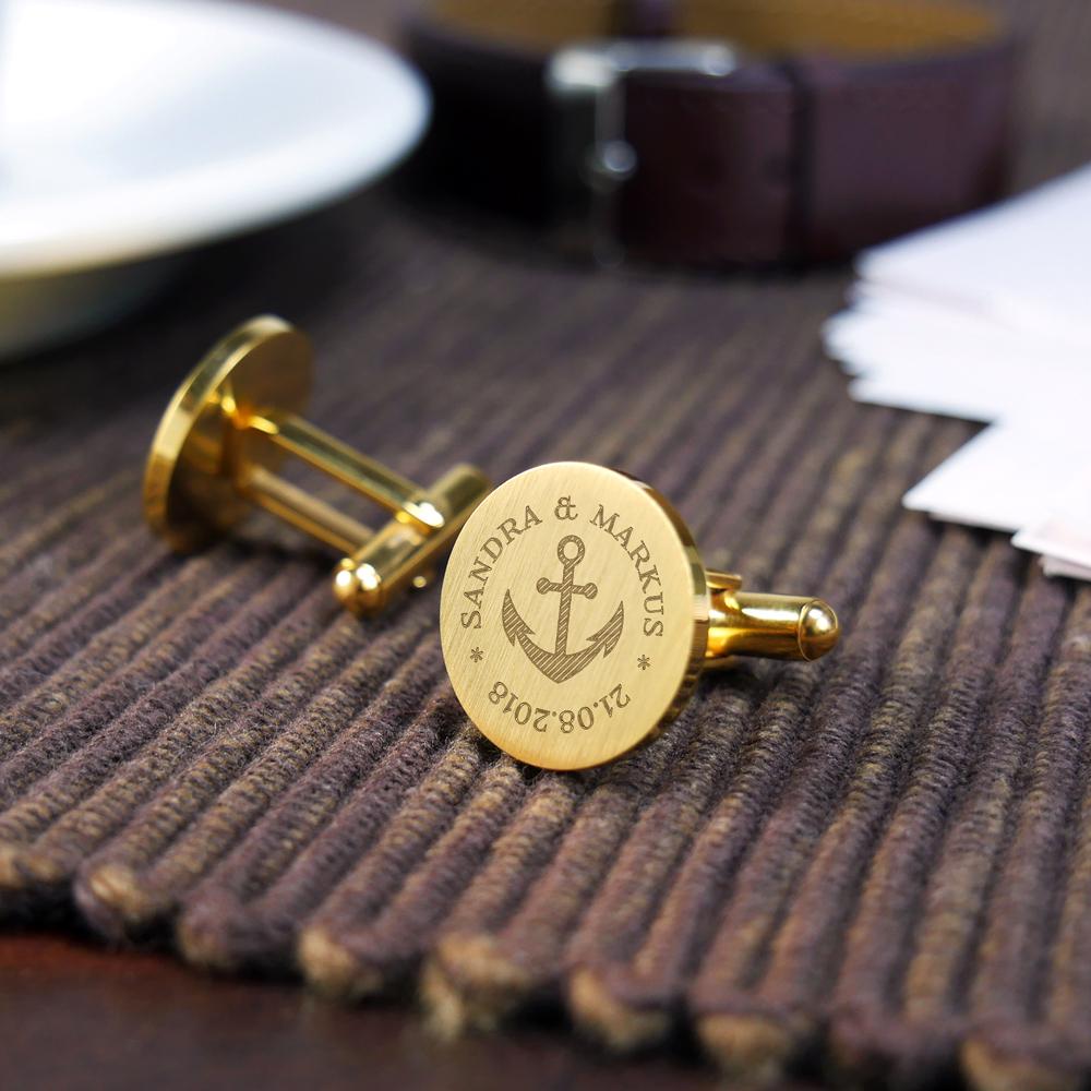 Manschettenknöpfe mit Gravur zur Hochzeit - Rund - Anker - Gold