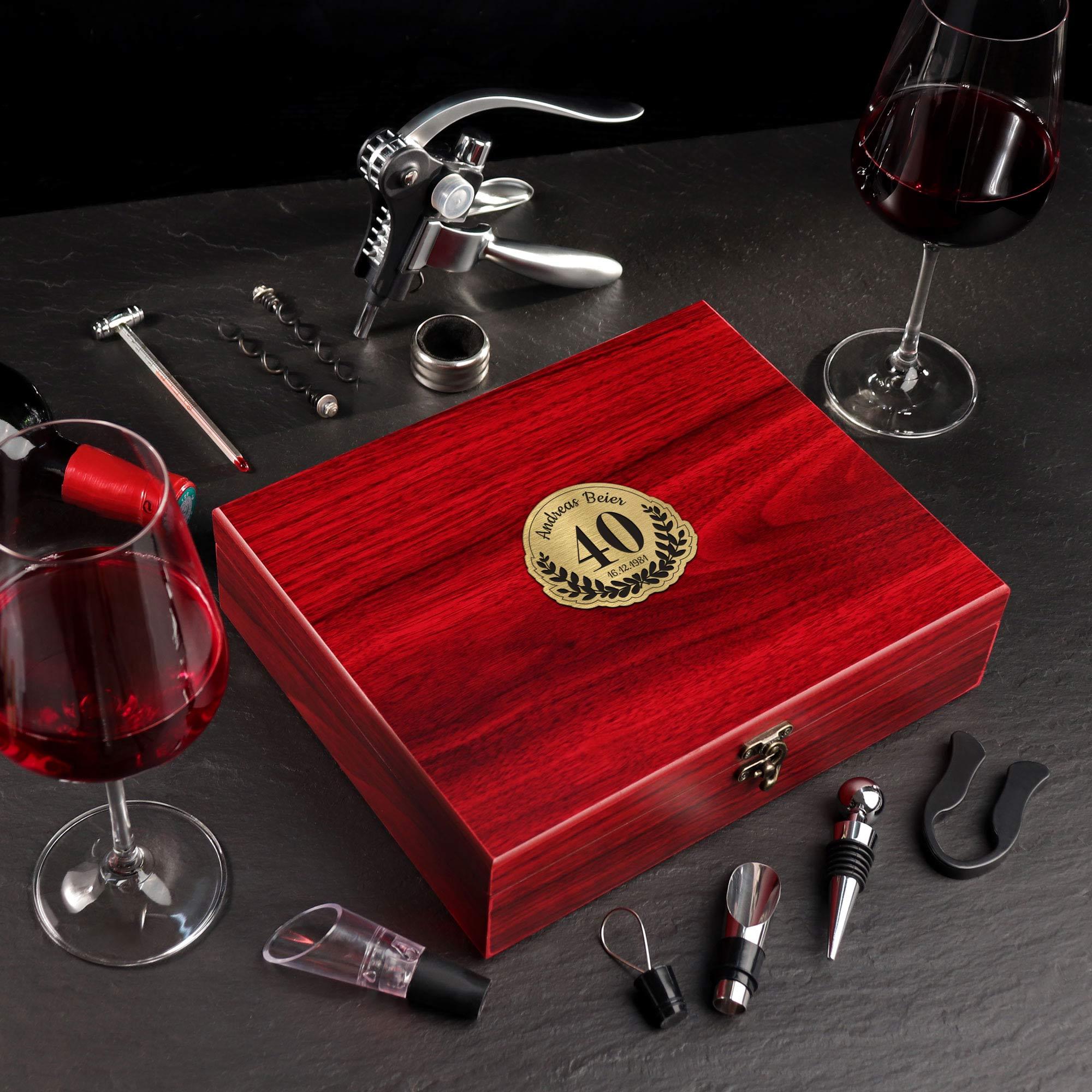 Wein Sommelier Set mit Gravur zum 40. Geburtstag