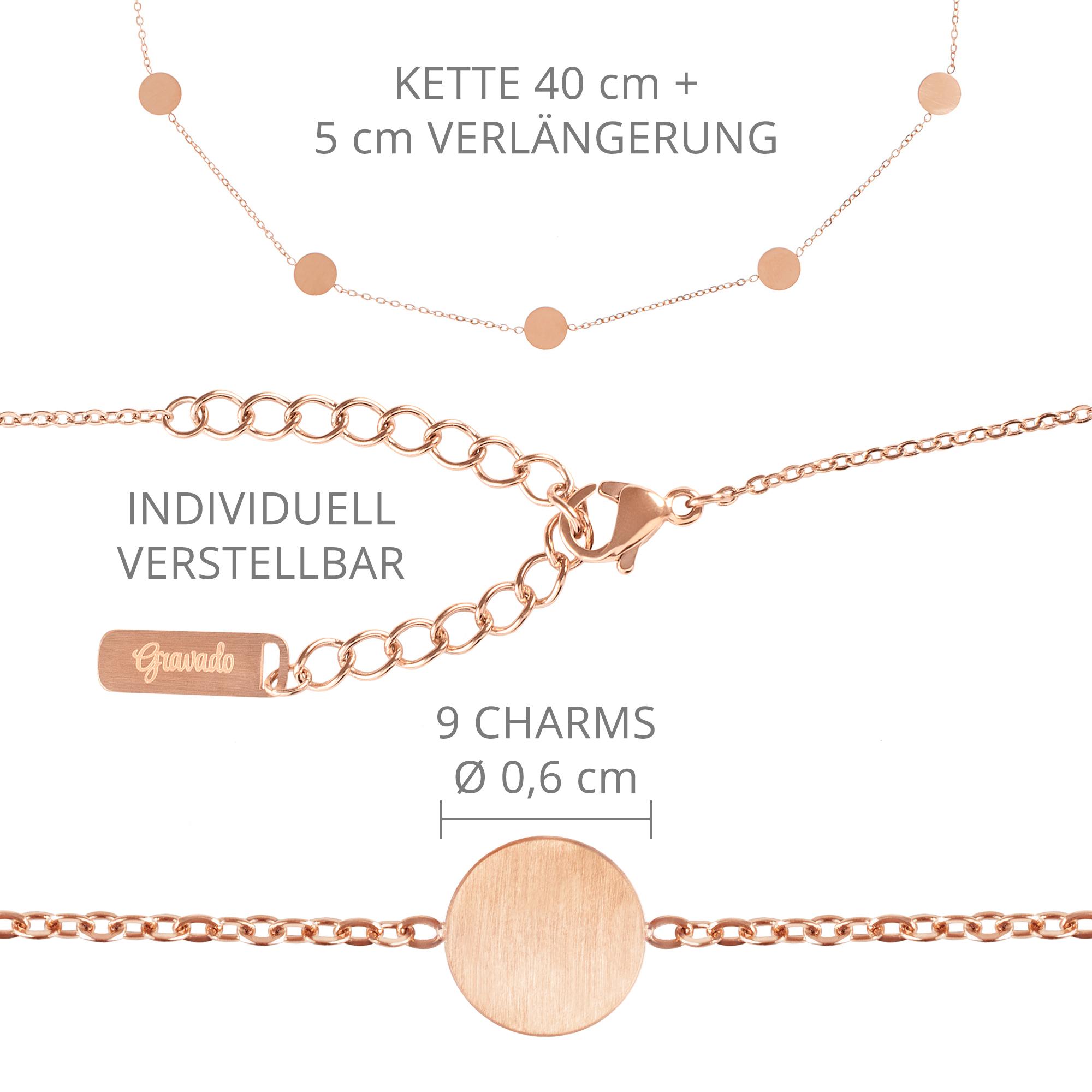 Set - Layering Kette Rose - Kreis Kette M - Rose