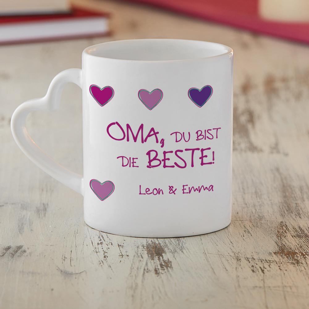 Bedruckte Tasse - Fototasse Beste Oma - Herz Henkel - Personalisiert