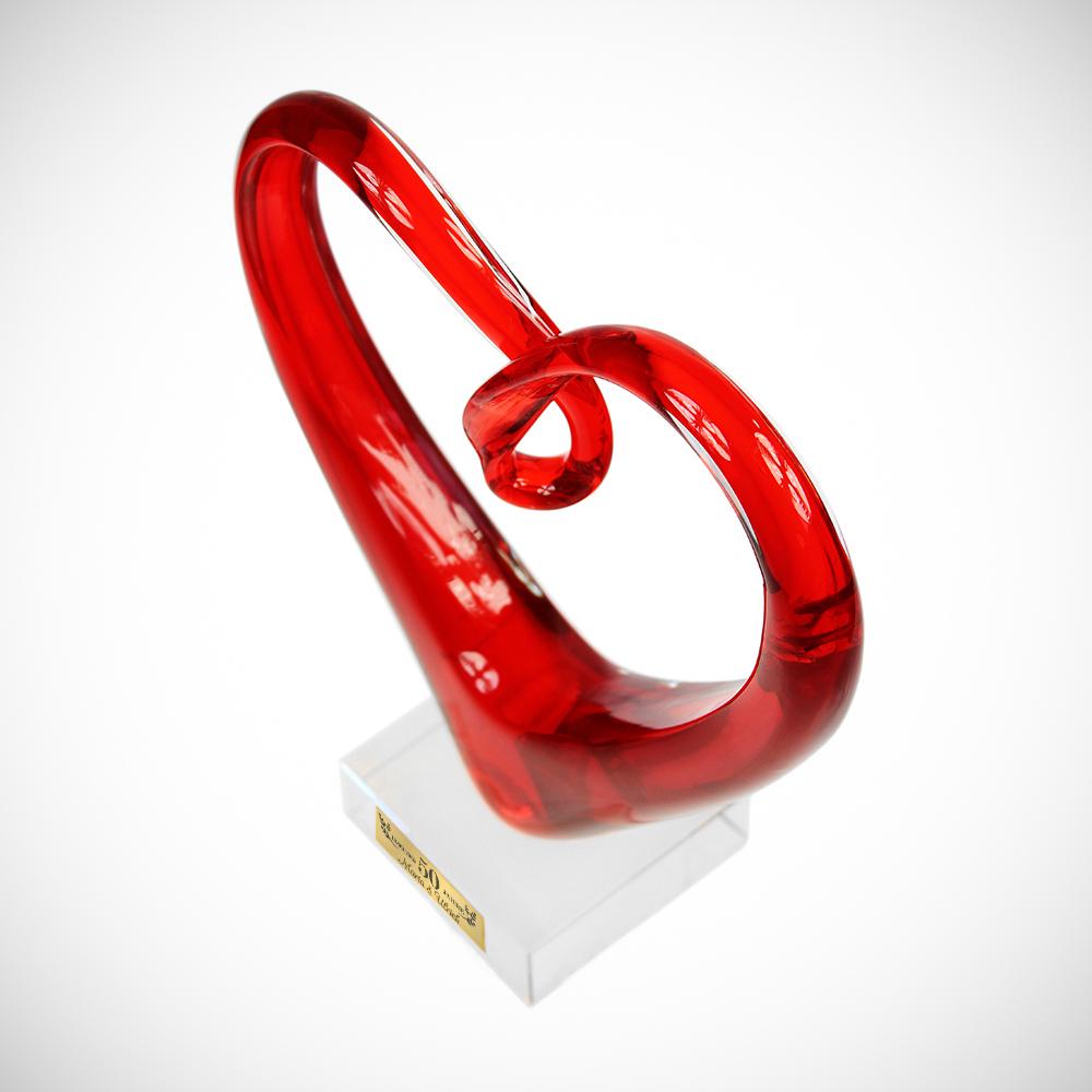 Herz aus Glas mit Gravur zur Goldenen Hochzeit - Personalisiert