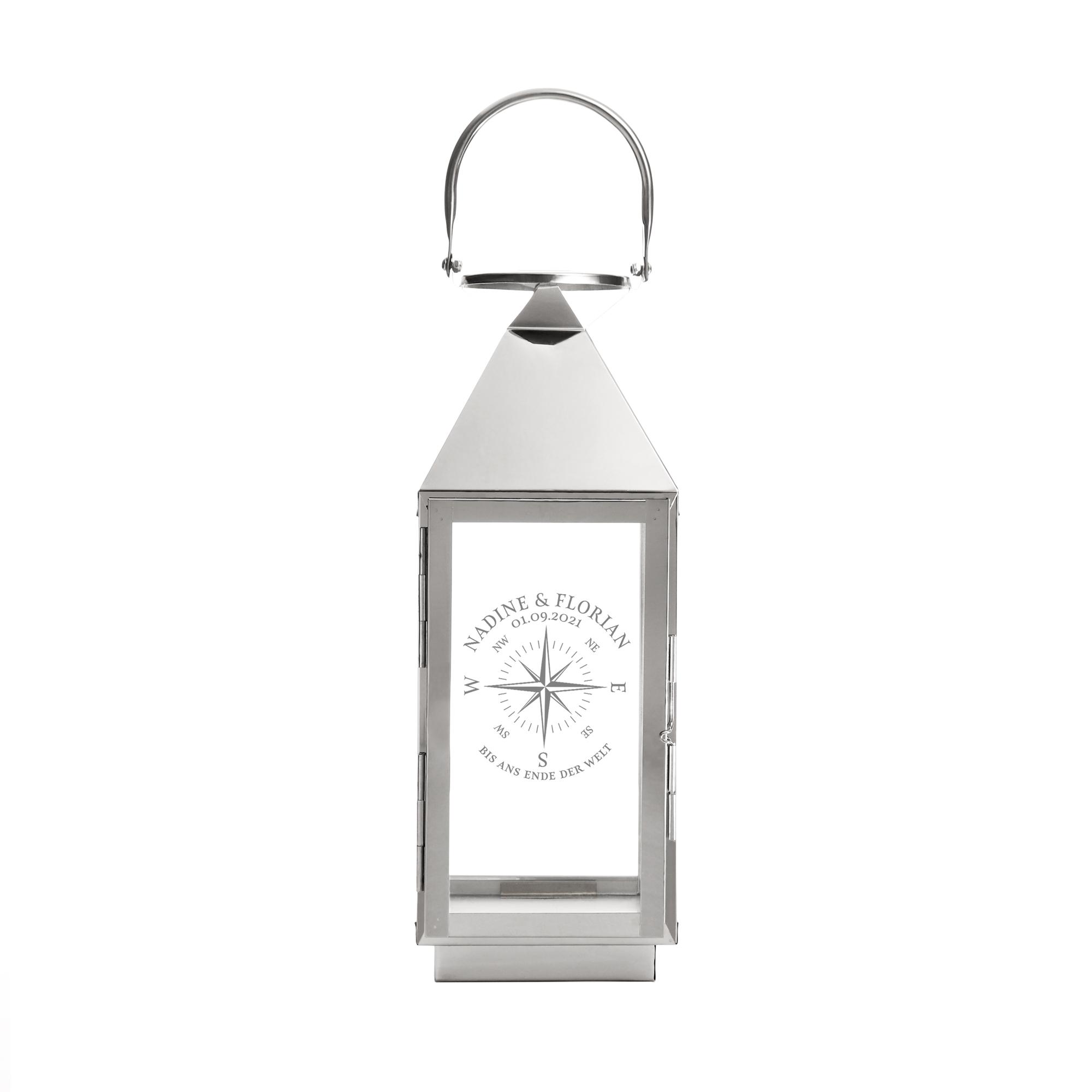 Laterne mit Gravur - Kompass Liebe