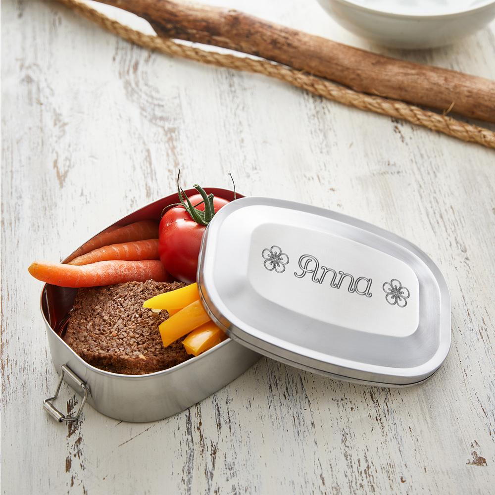 Runde Brotdose mit Gravur für Kinder - Lunchbox - Personalisiert - Edelstahl