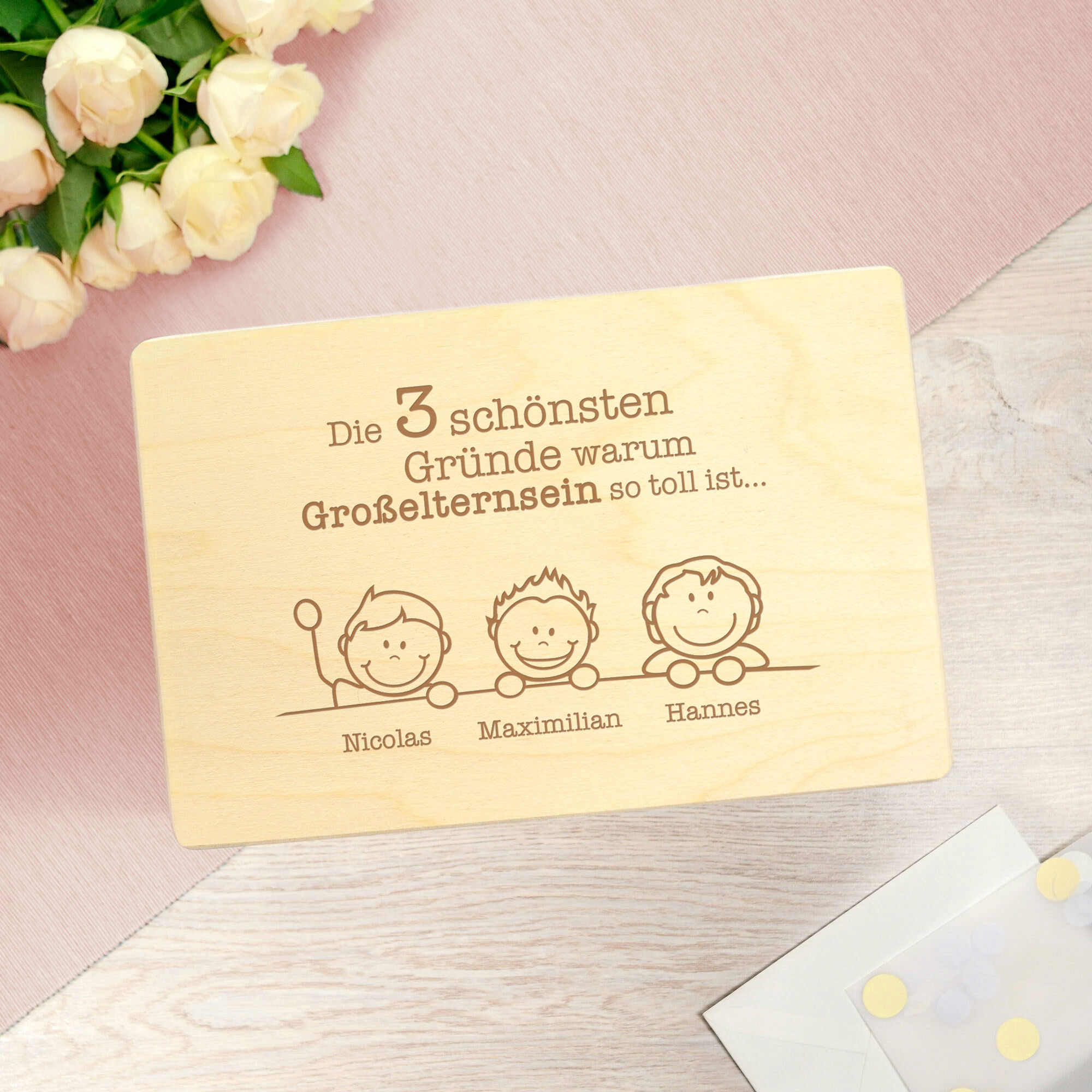 Personalisierte Erinnerungsbox mit Namen - Großelternsein