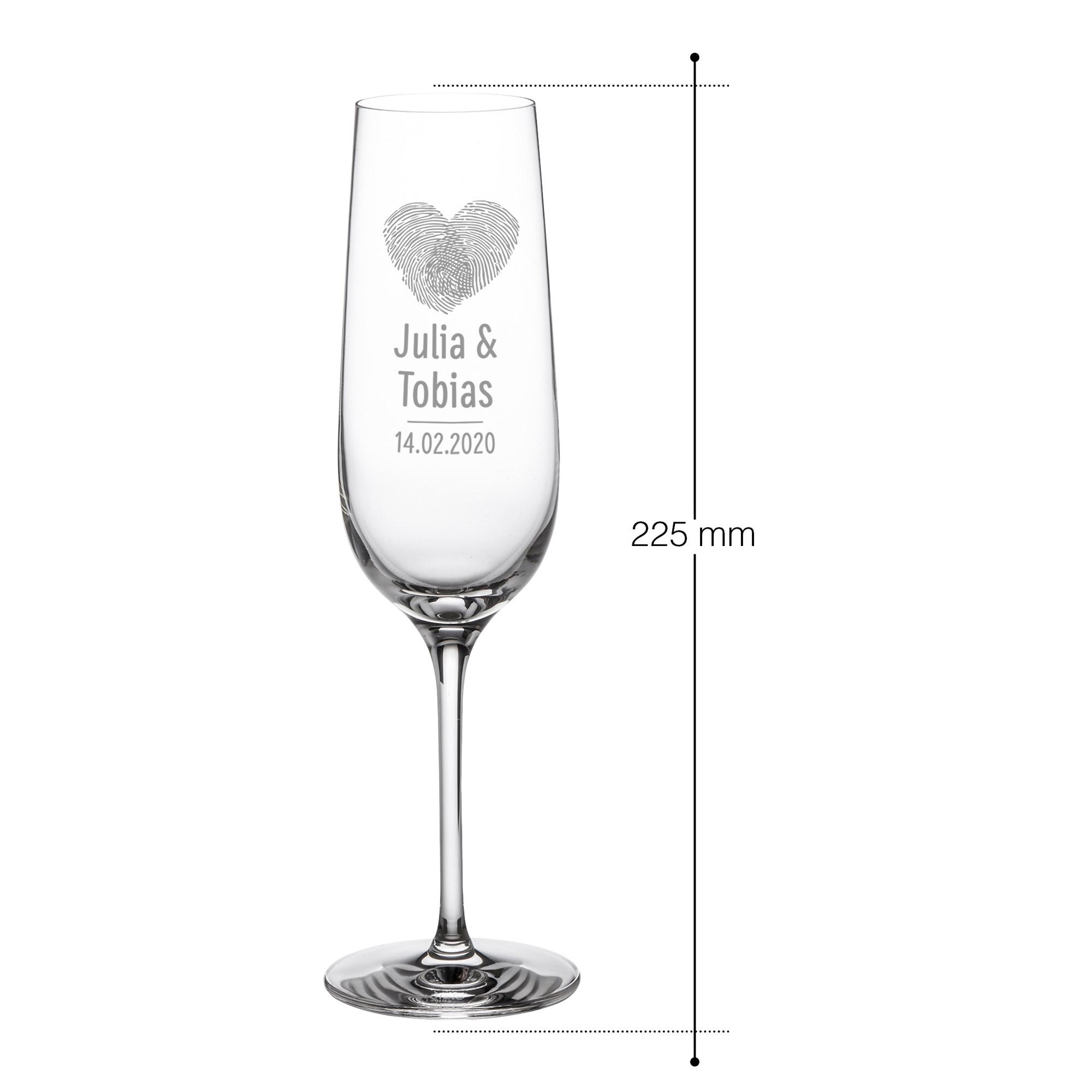 Sektgläser mit Gravur - Herz Fingerabdruck - Personalisiert