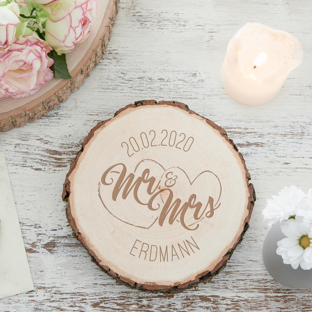 Baumscheibe zur Hochzeit - Mr Mrs - Personalisiert