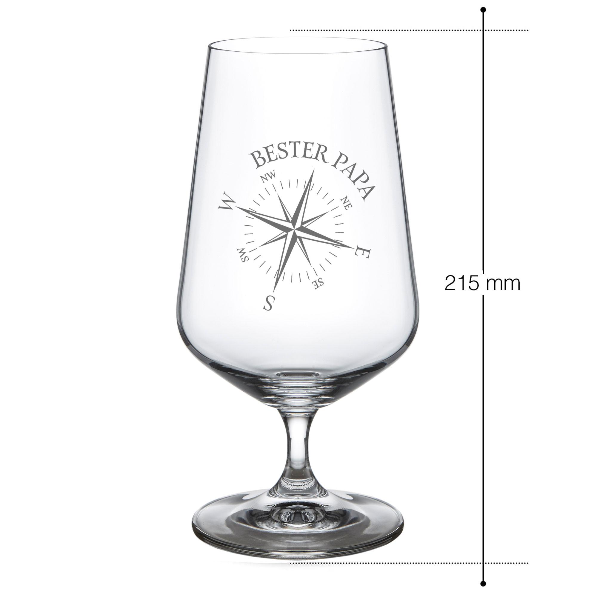 Bierglas mit Gravur Bester Papa - Kompass