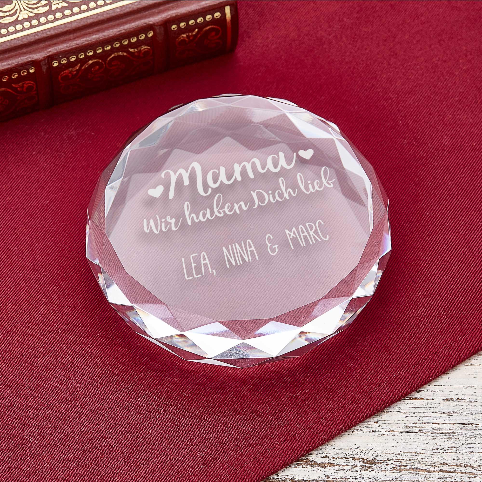 Personalisierter Kristall mit Gravur - Mama ich habe dich lieb