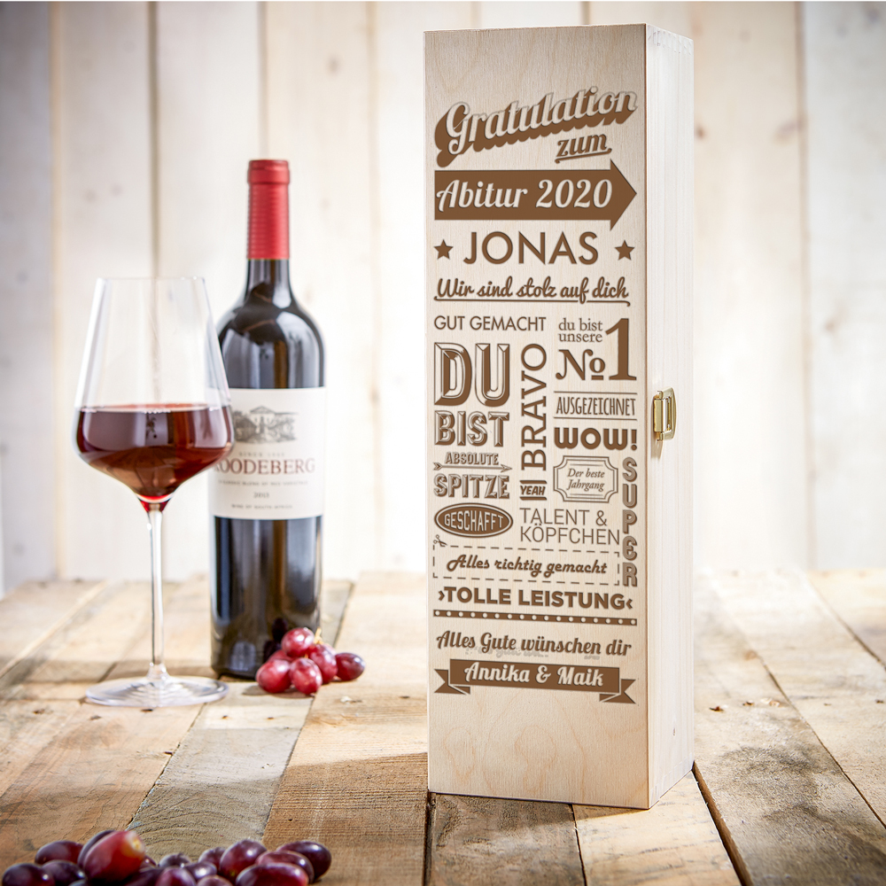 Weinkiste mit Gravur zum Abitur - Personalisiert