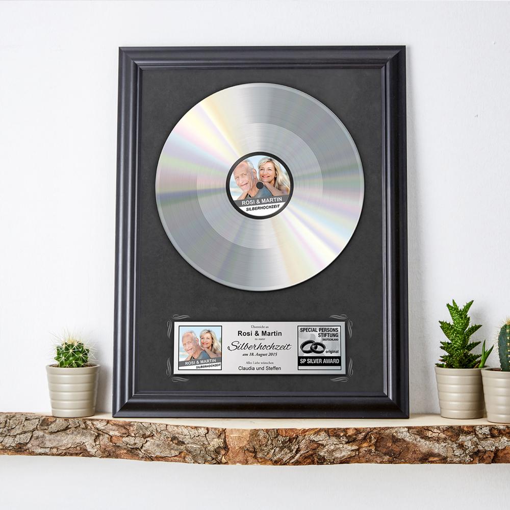 Silberne Schallplatte Geschenk zur Silberhochzeit - Personalisiert