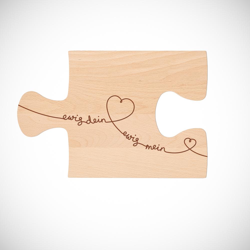 Puzzle Brett mit Gravur zur Hochzeit - 2er Set - Ewig Dein