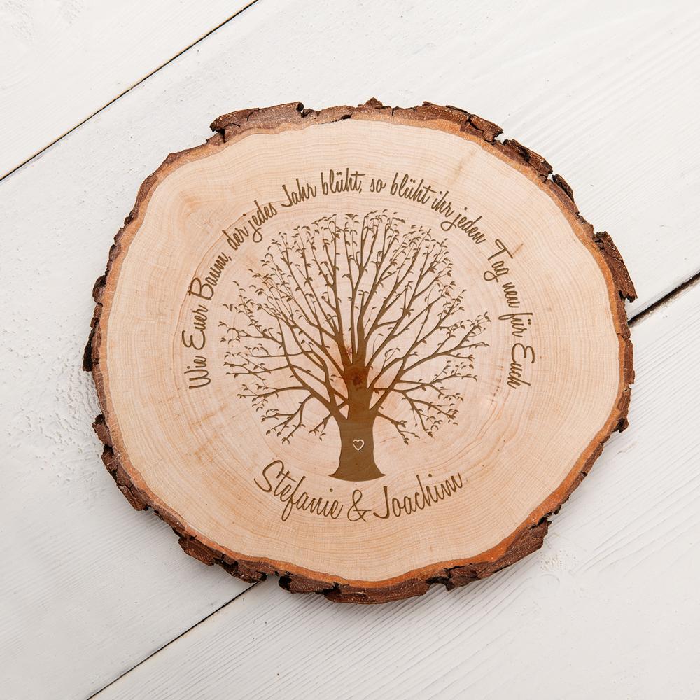 Baumscheibe mit Gravur zur Hochzeit - Baum der Ehe - Personalisiert