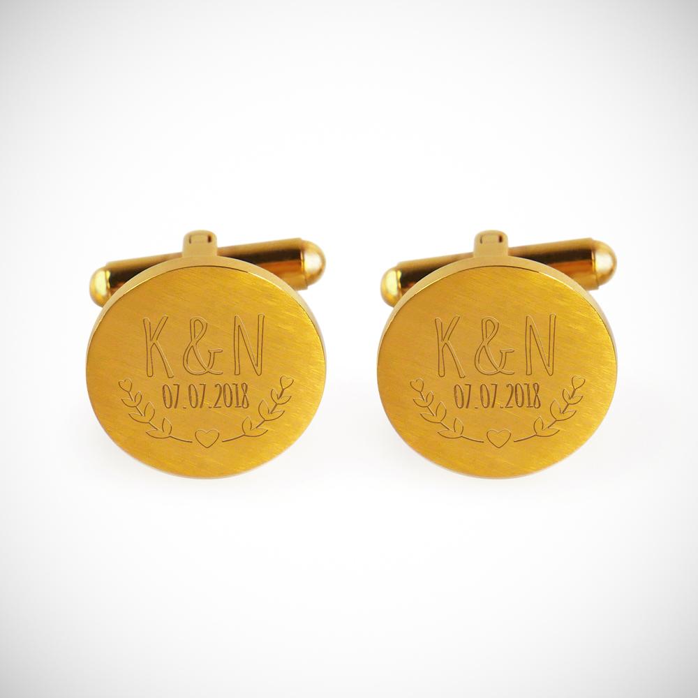 Manschettenknöpfe mit Gravur zur Hochzeit - Blätter - Rund - Gold