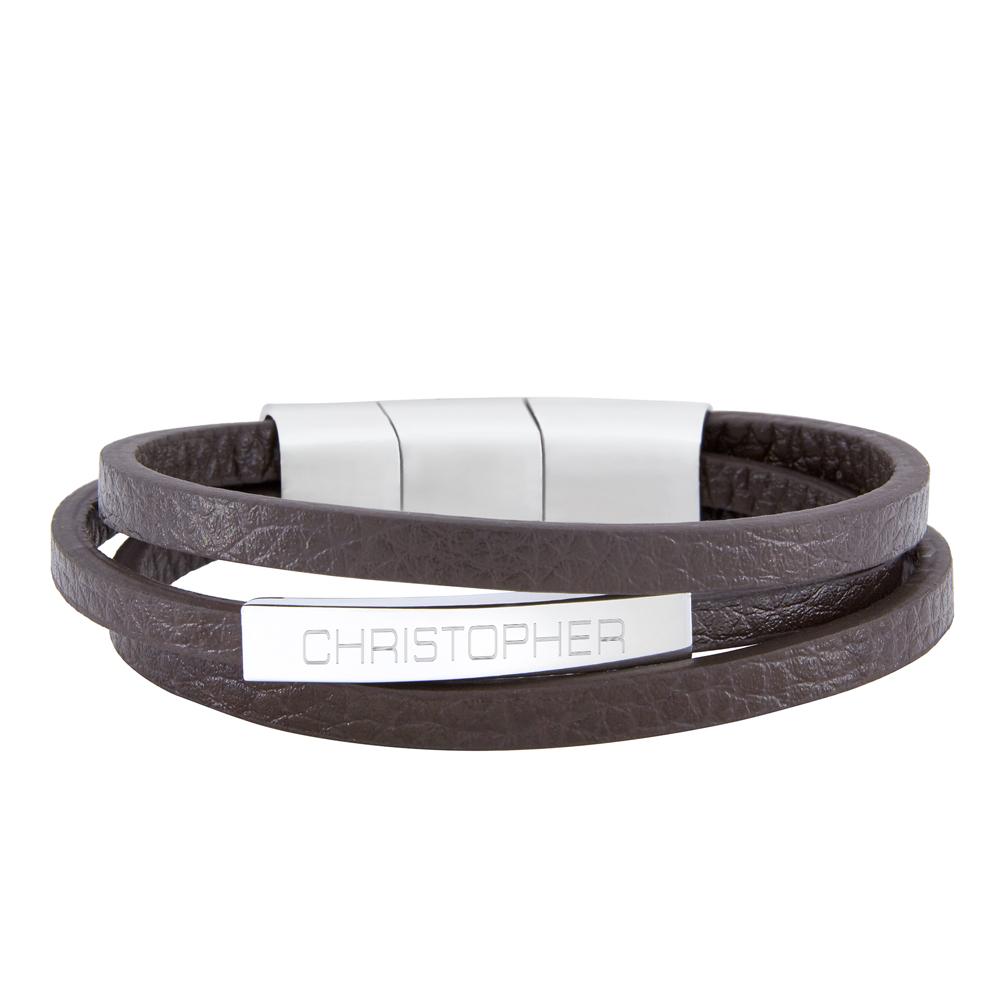 Herrenarmband mit Gravur - Leder - Braun - Armband mit Name