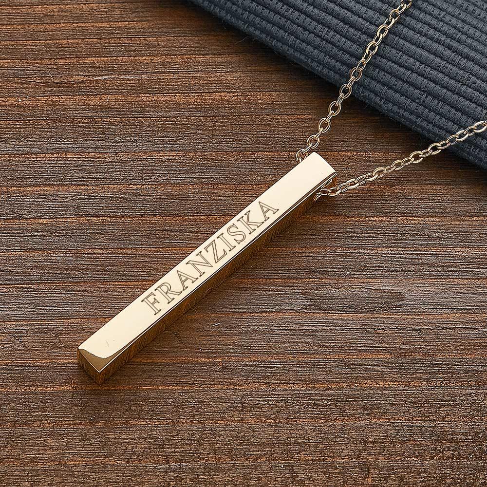 Halskette mit Gravur - Gold - Stab Anhänger graviert - Personalisiert