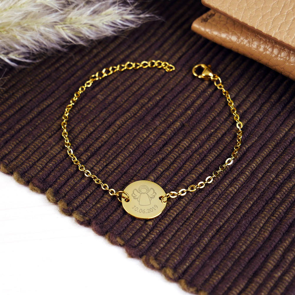 Armkettchen mit Gravur - Schutzengel - Gold - Personalisiert