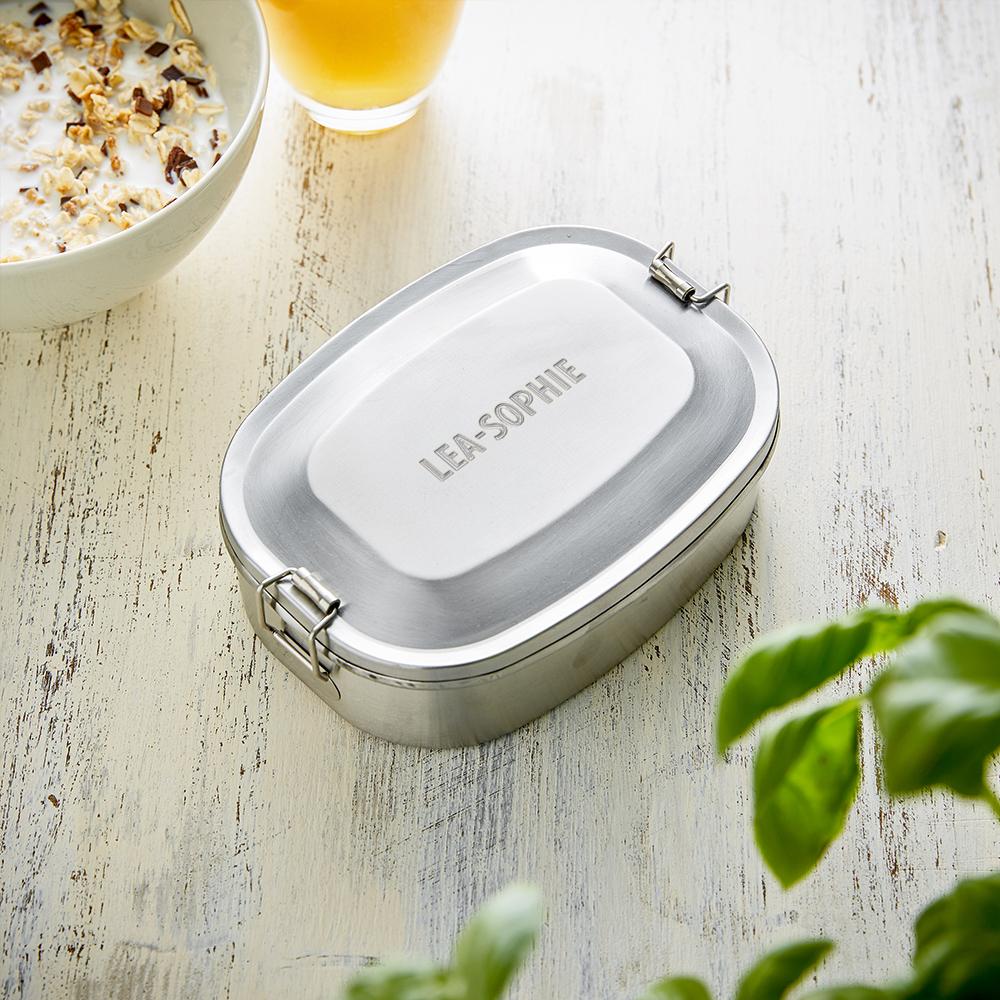 Runde Brotdose mit Gravur aus Edelstahl - Lunchbox - Personalisiert