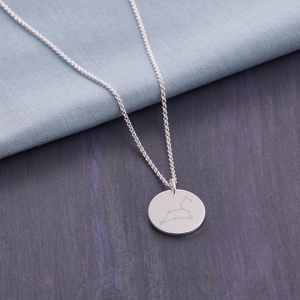 Silber Anhänger mit Gravur und Kette - Sternbild - Personalisiert