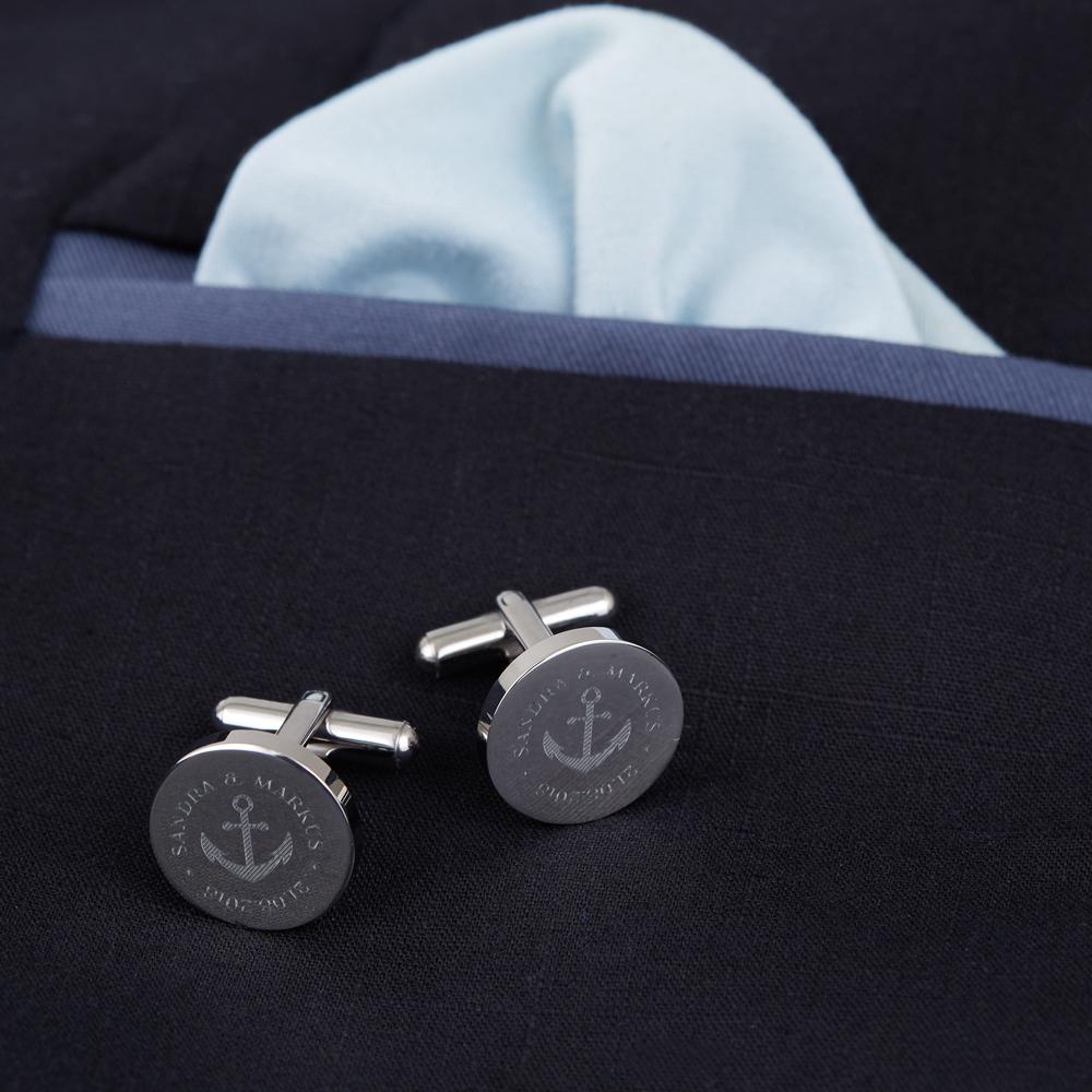 Manschettenknöpfe mit Gravur zur Hochzeit - Rund - Anker - Silber