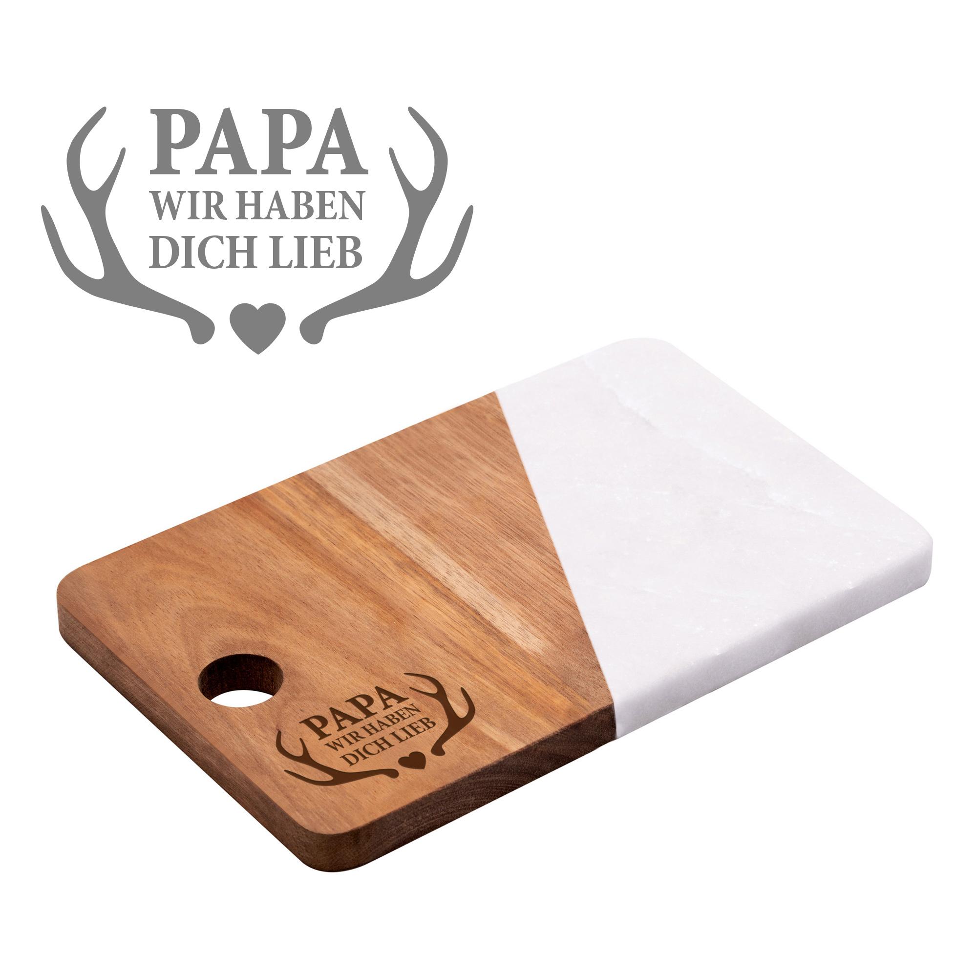 Servierbrett Marmor mit Gravur - Papa wir haben dich lieb
