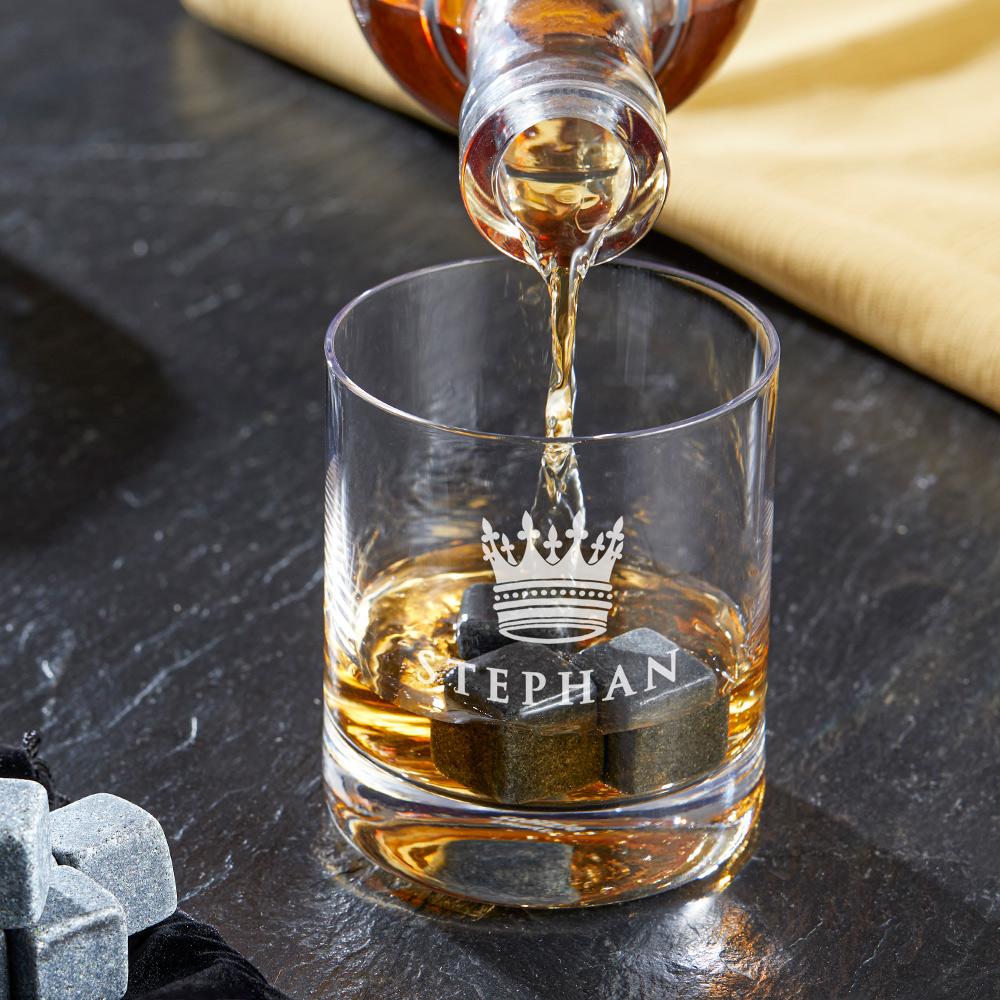 Whiskyglas mit Gravur Große Krone - Personalisiert