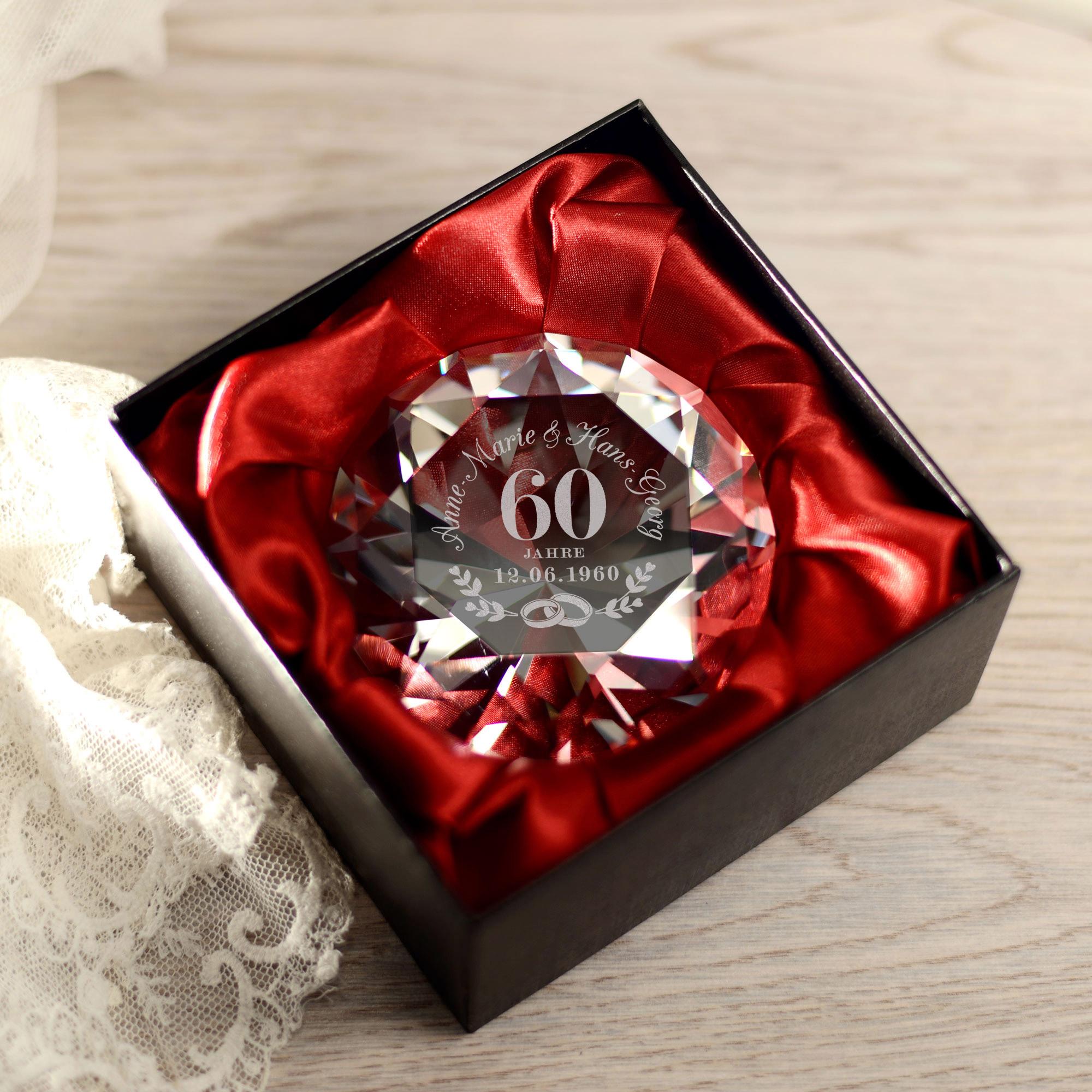 Diamant Kristall mit Gravur zur Diamantenen Hochzeit - Personalisiert