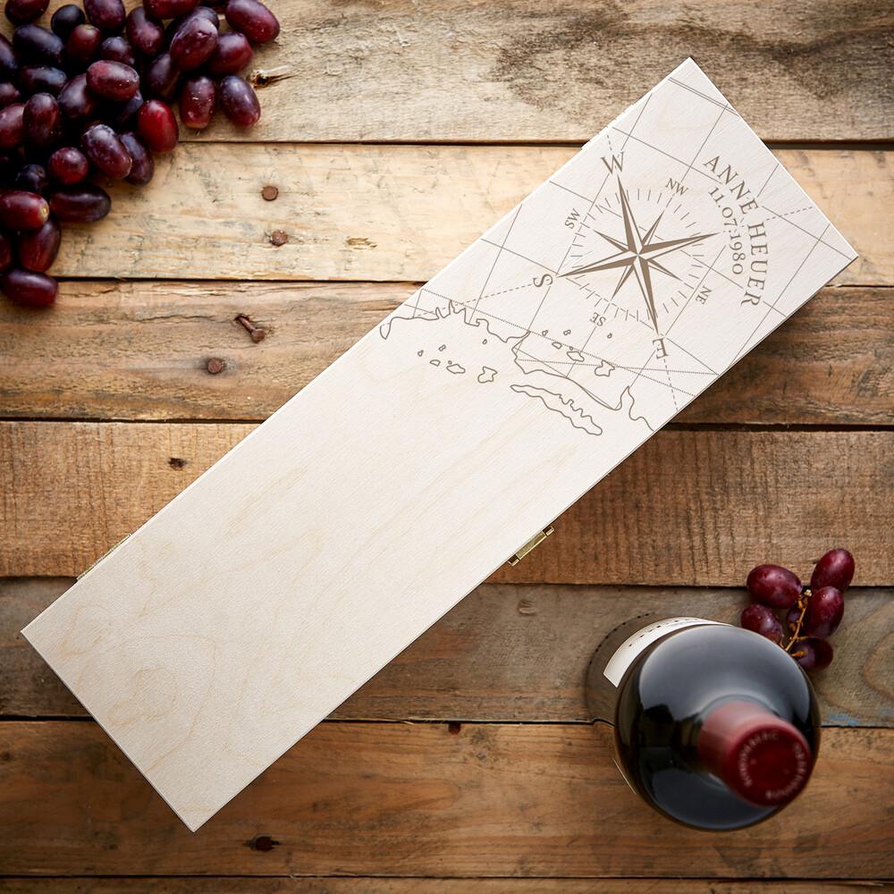 Weinkiste mit Gravur Kompass - Personalisiert