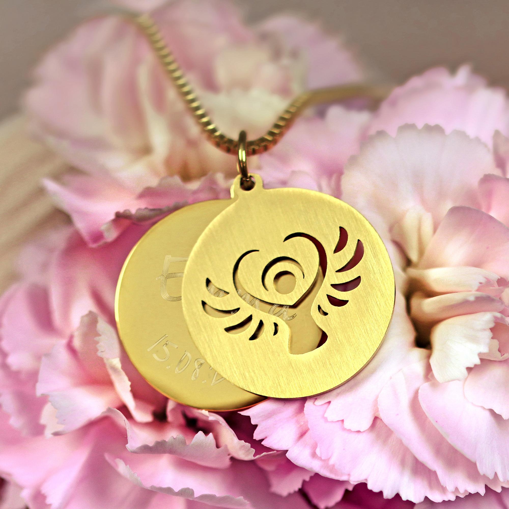 Halskette mit Gravur - Schutzengel und Name und Datum - Gold